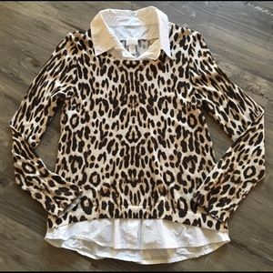 Size 1 Chico's twofer leopard sweater EUC